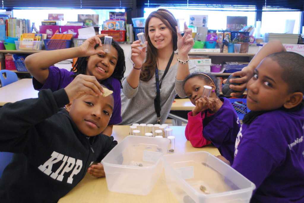 Jennifer Ramsey with students at Heights